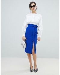 Oasis - Paperbag Waist Split Front Pencil Skirt - Lyst