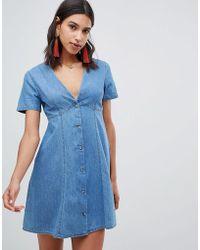 b6369907e3bf Dorothy Perkins Midwash Blue Embroidered Floral Skater Dress in Blue ...