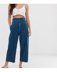 77c856ec42eb ASOS - Asos Design Petite Lightweight Cropped Wide Leg Jeans In Mid Wash  With Paper Bag