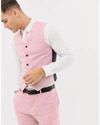 ASOS - Wedding Skinny Suit Waistcoat In Rose Pink Cross Hatch - Lyst