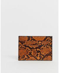 Pieces Snakeskin Card Holder - Brown