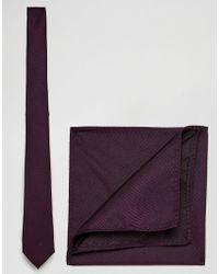 ASOS DESIGN - Burgundy Tie And Pocket Square Pack - Lyst