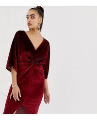 Missguided - Velvet Plunge Twist Front Midi Dress In Dark Red - Lyst