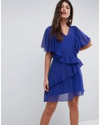 ASOS - Asos V Neck Ruffle Mini Dress - Lyst