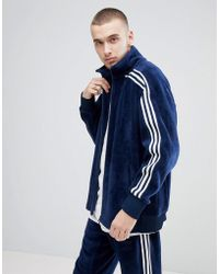 adidas Originals - Adicolor Velour Track Jacket In Oversized Fit In Navy Cw4915 - Lyst