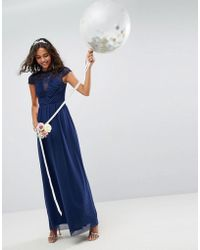 ASOS - Design Bridesmaid Lace Mesh Insert Sleeve Maxi Dress - Lyst