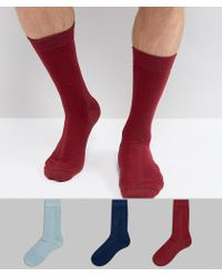 ASOS - Textured Socks In Gift Box In Burgundy & Green & Navy 3 Pack Made In Uk - Lyst