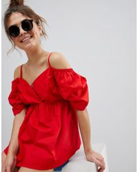 ASOS - Design Off Shoulder Cotton Top With Sweetheart Neck - Lyst