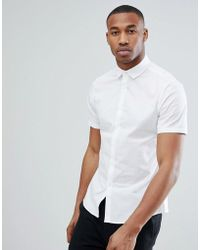 ASOS - Design Slim Shirt With Stretch In White - Lyst