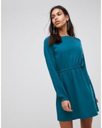 Vila - Gathered Waist Long Sleeve Dress - Lyst