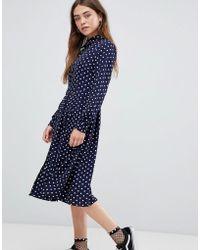 Glamorous - Midi Shirt Dress With Pleated Skirt In Polka Dot Print - Lyst