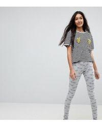 ASOS | Tres Cool Embroidered Banana Legging And Tee Pyjama Set | Lyst