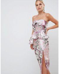 ASOS - Design Structured Bandeau Midi Dress In Wallpaper Floral Print - Lyst