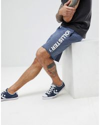 Hollister - Large Logo Print Sweat Shorts In Navy Marl - Lyst