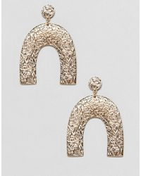 ASOS - Earrings In Textured Geo Shape Design In Gold - Lyst