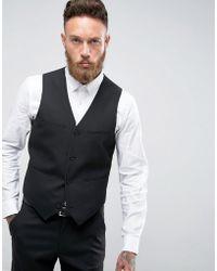 ASOS - Slim Waistcoat In Black - Lyst