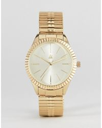 ASOS - Watch With Vintage Style Expander Strap In Gold - Lyst