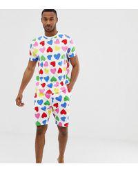 ASOS - Pyjama Set In Rainbow Hearts - Lyst
