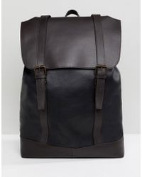 ASOS - Design Leather Backpack In Black With Double Straps In Brown - Lyst