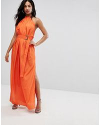 AQ/AQ - Maxi Dress With Ruched Detail And Belt - Lyst