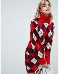 PrettyLittleThing - Crop Roll Neck Jumper In Red Argyle - Lyst