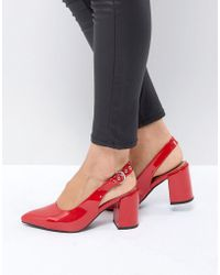 London Rebel - High Vamp Sling Back Heel Shoe - Lyst