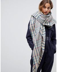 ASOS - Oversized Square 70s Tweed Check Scarf - Lyst