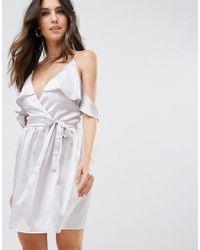 48a0b137f4c9 Boohoo Hammered Satin Slip Dress With Chiffon Hem in Metallic - Lyst