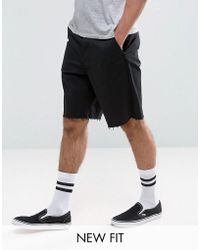 ASOS - Skater Shorts With Raw Edge In Black - Lyst