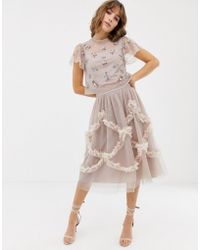 d2a29f47d3 Needle   Thread - Falda midi de tul en rosado con detalle fruncido de - Lyst