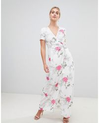 Pieces - Emi Floral Print Maxi Wrap Dress - Lyst