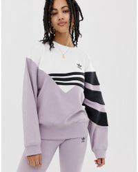 adidas Originals - Linear Jumper In Lilac And Black - Lyst