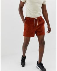 ASOS - Slim Shorter Shorts In Rust Cord - Lyst