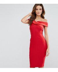 Vesper - Structured Pencil Dress With Satin Off Shoulder - Lyst