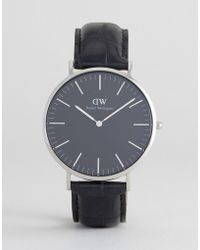 1536f668f8ff Daniel Wellington - Classic Black Reading Leather Watch With Silver Dial  40mm - Lyst