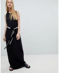 Dr. Denim - Maxi Jersey Dress With Logo Belt - Lyst