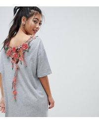 ASOS - Asos Design Petite T-shirt Dress With Rose Embroidery - Lyst