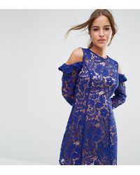 ASOS - Lace Cold Shoulder Shift Dress - Lyst