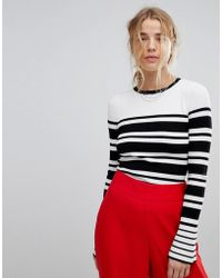 Miss Selfridge - Striped Fluted Sleeve Jumper - Lyst