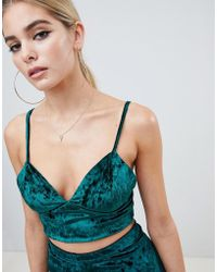 Fashionkilla - Cami Crop Top Two-piece In Emerald Velvet - Lyst