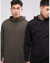 ASOS - Longline Hoodie 2 Pack Khaki/ Black Save - Lyst