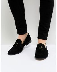 ASOS - Loafers In Black Suede With Crown Snaffle - Lyst