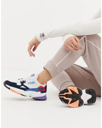 adidas Originals - White And Navy Falcon Trainers - Lyst