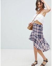 Vero Moda - Check Ruffle Hem Skirt - Lyst