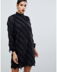 Y.A.S - Fringe Stripe High Neck Mini Dress In Black - Lyst