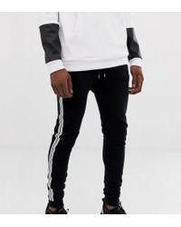ASOS - Tall Super Skinny joggers With Side Stripe Taping In Black - Lyst