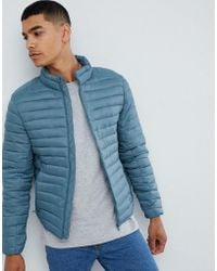 Pull&Bear - Quilted Jacket In Blue - Lyst