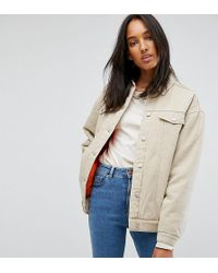 ASOS - Denim Wadded Jacket In Stone - Lyst