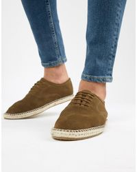 KG by Kurt Geiger - Kg By Kurt Geiger Lace Up Espadrilles In Khaki Suede - Lyst