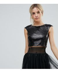 Little Mistress - Allover Sequin Crop Top - Lyst